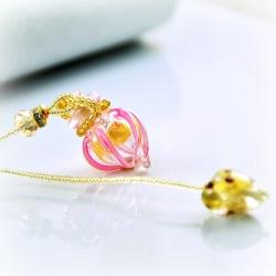 Circling Gem, pink, Aroma-Schmuck Halskette