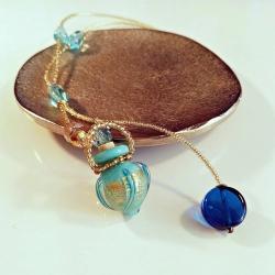 Circling Gem, matt-blau, Aroma-Schmuck Halskette