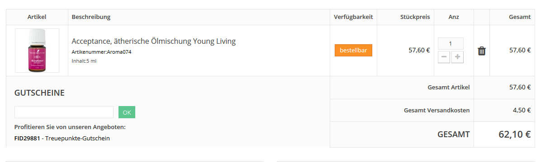 Warenkorb Gutschein-Anzeige